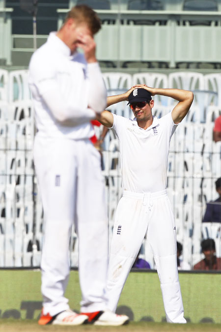 England captain Alastair Cook and Joe Root's make a picture of frustration during Day 4 of the 5th Test in Chennai on Monday