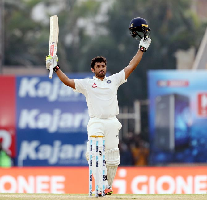 Karun Nair celebrates his triple century against England, December 19, 2016. Photograph: BCCI