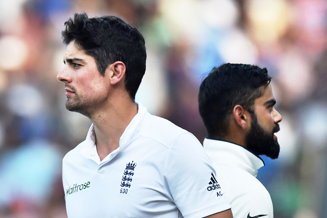 India's captain Virat Kohli and his England counterpart Alastair Cook after their Test series at MAC Stadium in Chennai on Tuesday