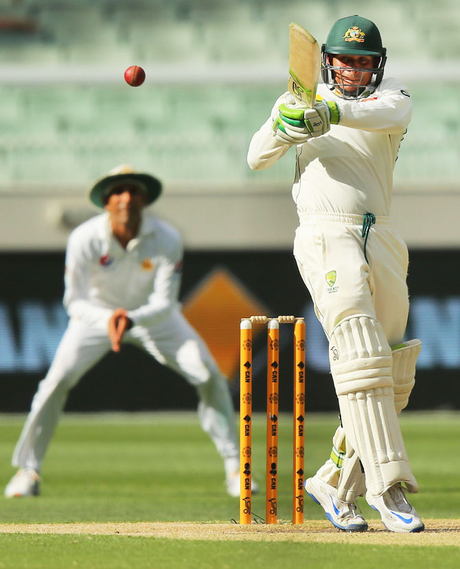 Australia's Usman Khawaja bats on Day 3 of the Second Test against Pakistan