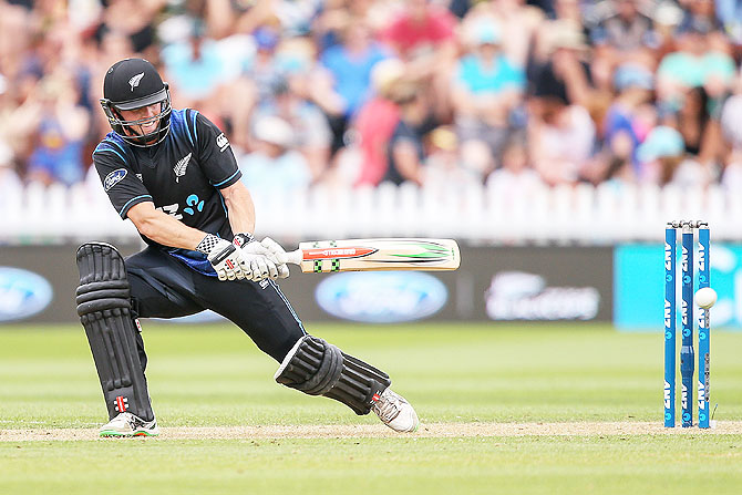 New Zealand's Henry Nicholls bats
