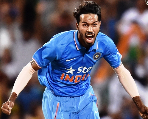 Hardik Pandya of India reacts after taking an Australian wicket