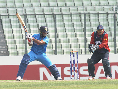 India batsman Rishabh Pant bats during his record-breaking innings against Nepal in their Under-19 World Cup match on Monday