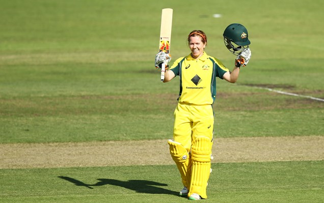Alex Blackwell of Australia celebrates her century during the ODI series against India in Canberra