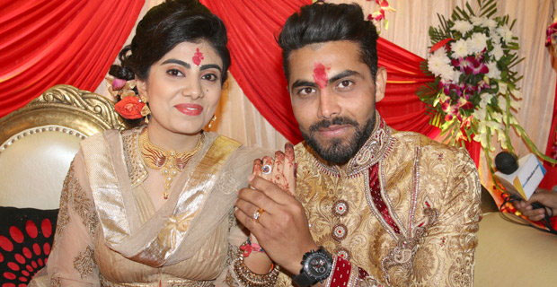 Ravindra Jadeja and Reevaba Solanki at their engagement in February. Photograph: Haresh Pandya