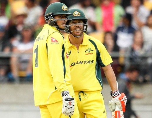 Usman Khawaja (left) and David Warner of Australia during the second ODI against New Zealand in Wellington