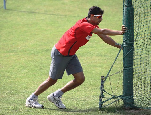 India's Ashish Nehra during a practice session