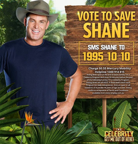 Shane Warne in the show 'I'm a Celebrity....'