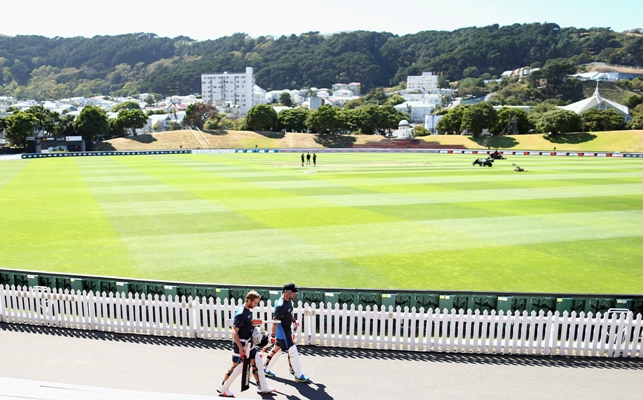 Kane Williamson and Brendon McCullum of New Zealand walk to the nets during a New Zealand nets session at Basin Reserve