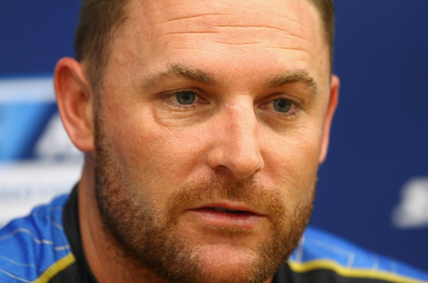 Brendon McCullum of New Zealand speaks to the press during a New Zealand nets session at Basin Reserve
