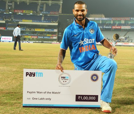Shikhar Dhawan of India is man of the match