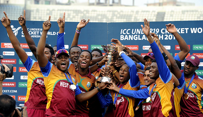 West Indies' players celebrate after winning the Under-19 World Cup title.