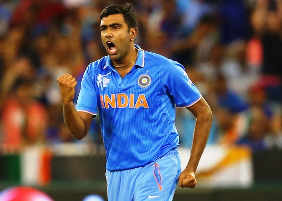 Ravichandran Ashwin of India celebrates the wicket