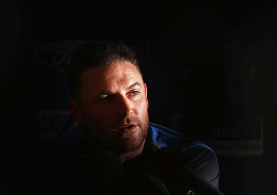 Brendon McCullum of New Zealand speaks to the media before his last Test in Churchgate