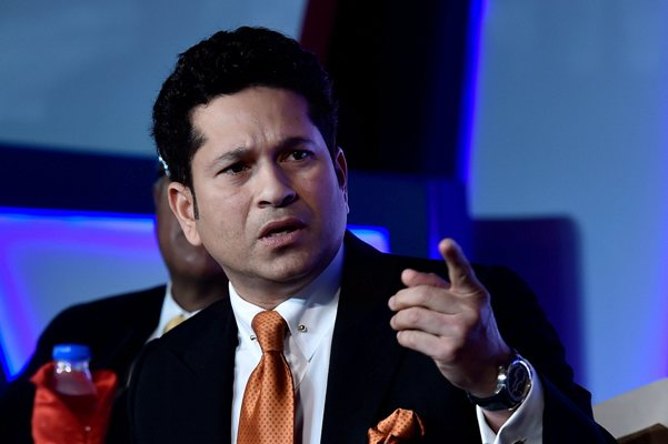 Sachin Tendulkar speaks during an event