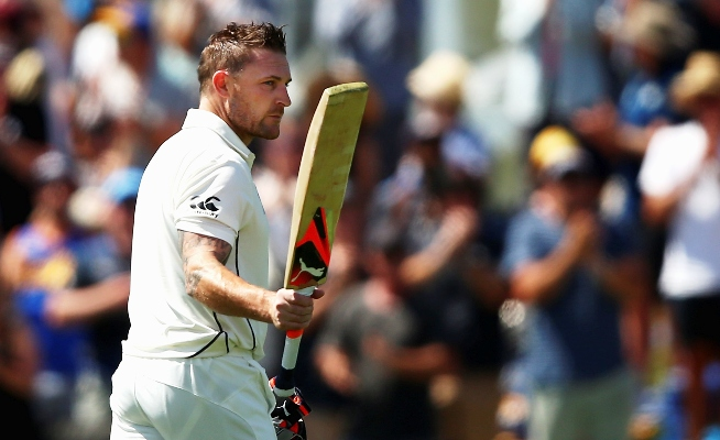 Brendon McCullum of New Zealand leaves the ground