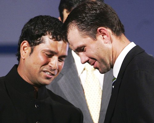 Ricky Ponting of Australia receives his ICC Player of the Year Award from Sachin Tendulkar