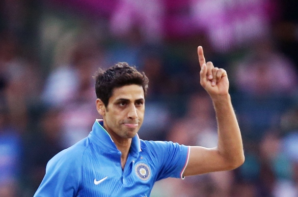 Ashish Nehra of India celebrates taking a wicket