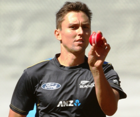 Trent Boult of New Zealand bowls during a nets session