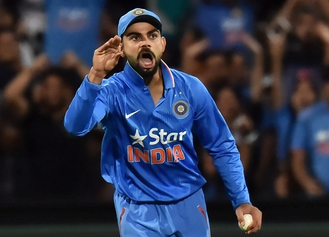 India's Virat Kohli reacts