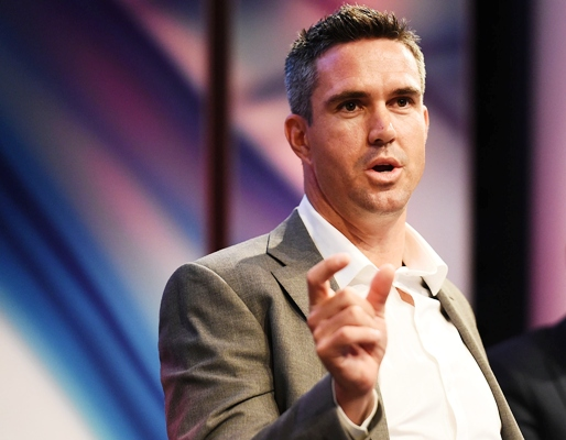 England's Kevin Pietersen speaks during a function in London