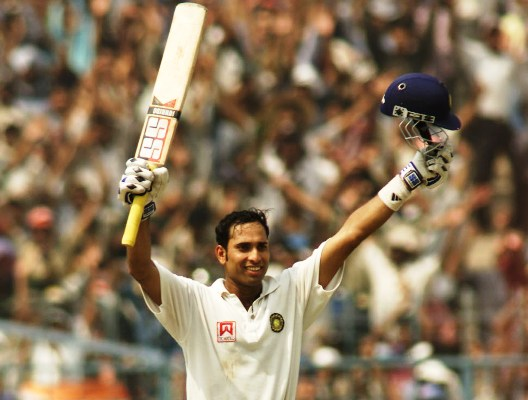 VVS Laxman of India celebrates after reaching 200