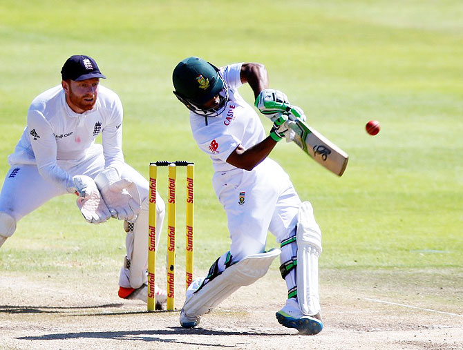 South Africa's Temba Bavuma (right) plays a shot en route his century