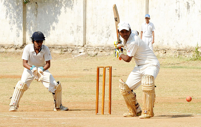 Pranav Dhanawade in action during his epic innings