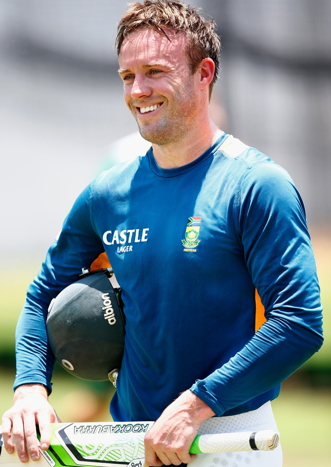 South Africa's AB de Villiers looks on during nets session