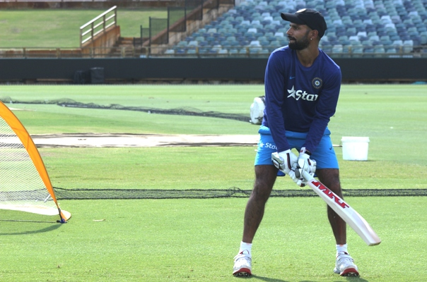 India's Shikhar Dhawan during a training session
