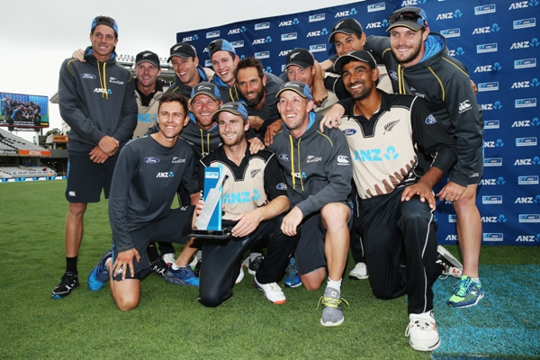 The Black Caps celebrate after winning the Twenty20 International series