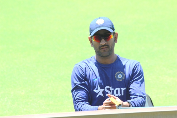 India's captain Mahendra Singh Dhoni during a training session