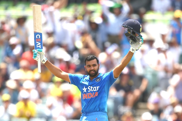 India's Rohit Sharma celebrates his century in the first ODI against Australia in Perth