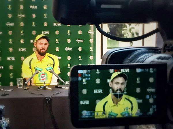 Australian bowler Kane Richardson speaks at a press conference after the 4th ODI against India in Canberra on Wednesday