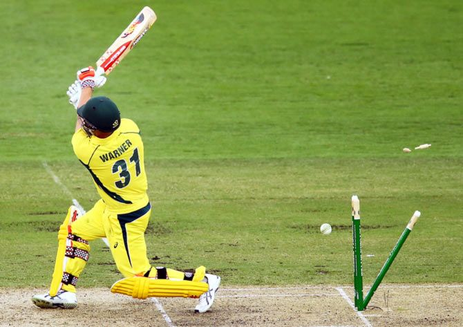 David Warner bowled by Ishant Sharma in the India-Australia ODI at Canberra, January 20, 2016. Photograph: Mark Nolan/Getty Images