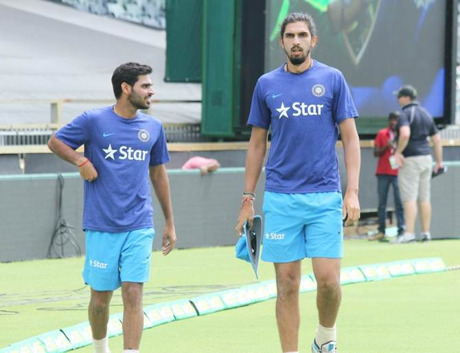 Indian bowlers Bhuvneshwar Kumar and Ishant Sharma (right) during a practice session