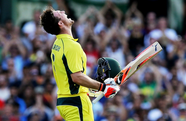 Mitchell Marsh of Australia celebrates after scoring a century in the Sydney ODI