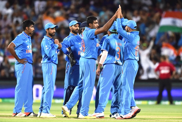 Ravichandran Ashwin of India celebrates after taking a wicket
