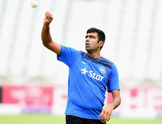 Ravichandran Ashwin of India during a practice session