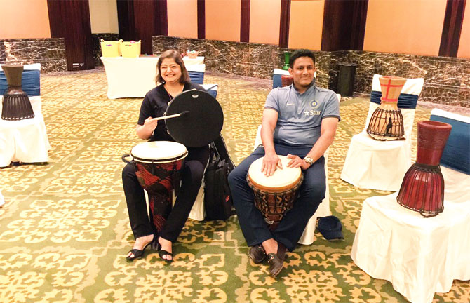 Singer-actor Vasundhara Das and Anil Kumble play the drums