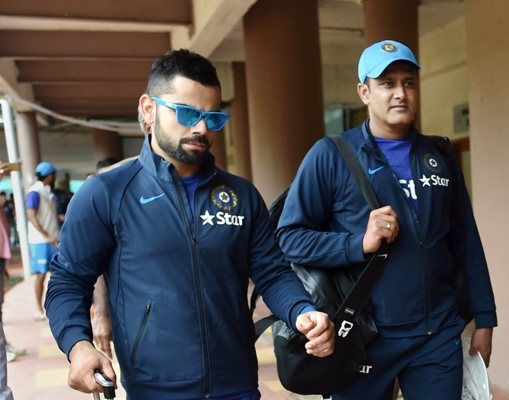Captain Virat Kohli and Coach Anil Kumble arrive for a training session, July 2016. Photograph: PTI