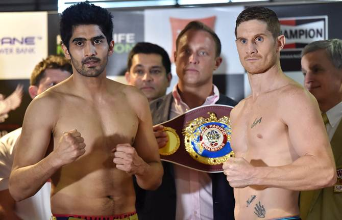 Vijender Singh, left, and Kerry Hope
