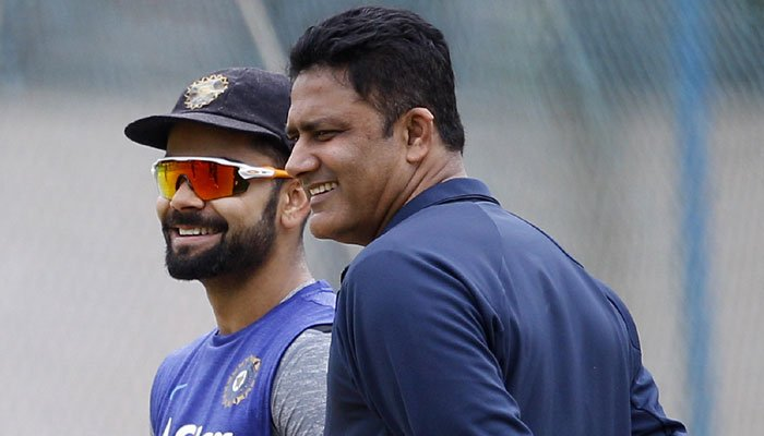 India's Test captain Virat Kohli with newly-appointed coach Anil Kumble