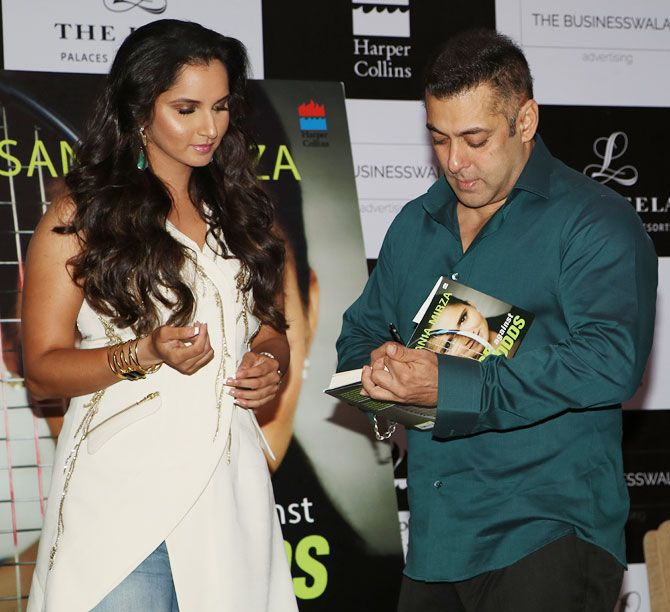 Bollywood star Salman Khan at the launch of tennis ace Sania Mirza's Ace Against Odds in Mumbai, July 17, 2016. Photograph: Hitesh Harisinghani/Rediff.com