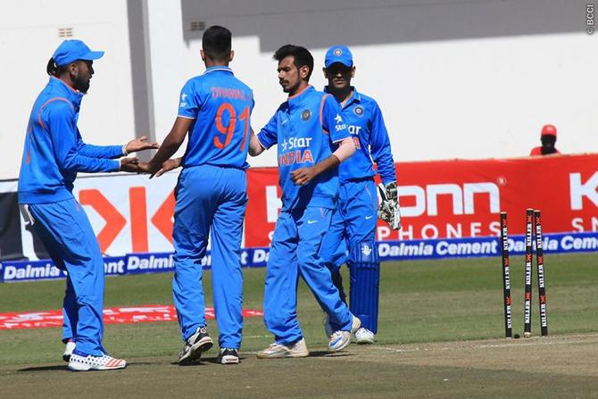 Yuzvendra Chahal picked his maiden wicket for India against Zimbawe in June 2016
