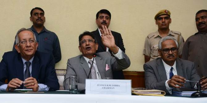 Chairman of the Supreme Court-appointed committee for reforms in Indian cricket Justice Rajendra Mal Lodha is flanked by Justice Ashok Bhan (left) and Justice R V Raveendran at a press conference