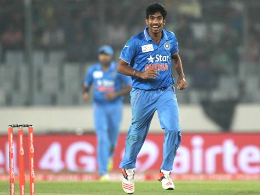 India's Jasprit Bumrah celebrates taking a wicket during the Asia Cup in Mirpur