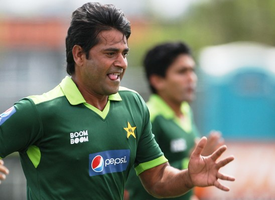 Pakistan's Aaqib Javed during a training session