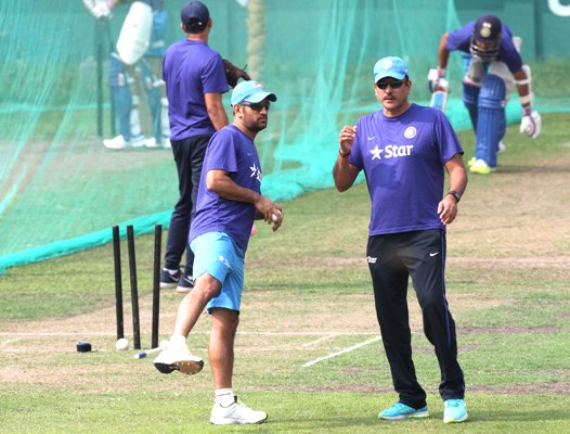 India's limited-overs captain MS Dhoni and team director Ravi Shastri