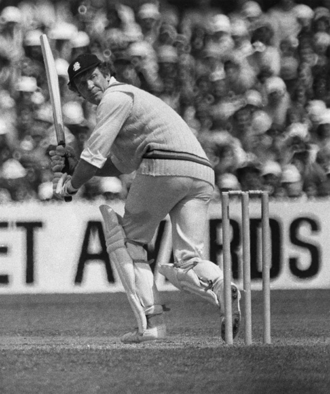 England's Mike Denness hits a century in the sixth Test at Melbourne, Australia, on February 1975